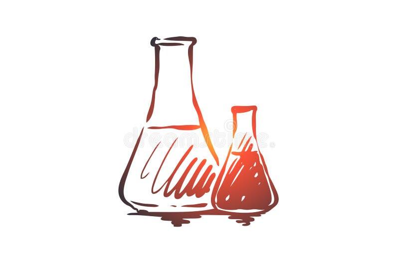 Χημεία, φιάλη, επιστήμη, εργαστήριο, έννοια γυαλιού Συρμένο χέρι απομονωμένο διάνυσμα ελεύθερη απεικόνιση δικαιώματος