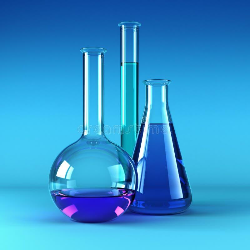 χημικά αντιδραστήρια φιαλώ& ελεύθερη απεικόνιση δικαιώματος