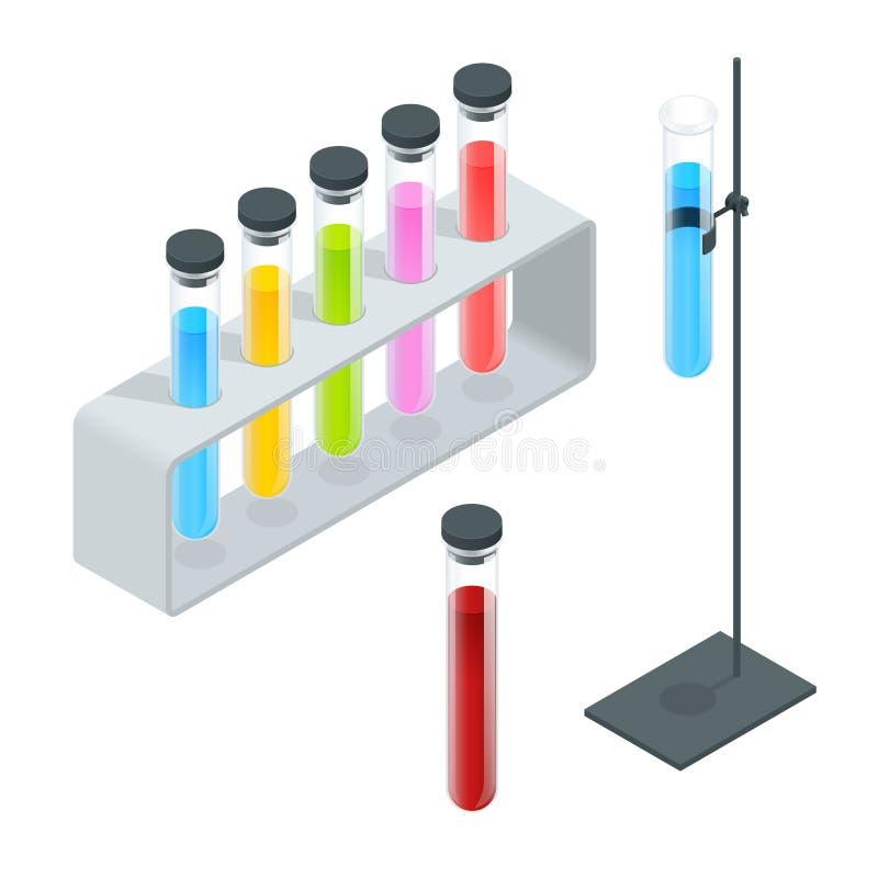 Χημικά εικονίδια εικονογραμμάτων σωλήνων δοκιμής καθορισμένα Erlenmeyer φιάλη, αποστάζοντας φιάλη, ογκομετρική φιάλη, σωλήνας δοκ ελεύθερη απεικόνιση δικαιώματος
