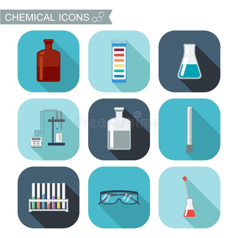 χημικά εικονίδια Επίπεδο σχέδιο με τις σκιές Χημικό εργαστήριο, χημικά γυαλικά ελεύθερη απεικόνιση δικαιώματος
