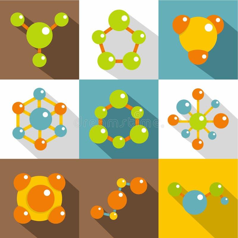 Χημικά εικονίδια καθορισμένα, επίπεδο ύφος διανυσματική απεικόνιση
