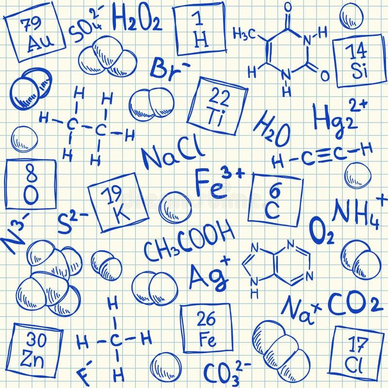 Χημικά doodles τακτοποιημένο σε σχολείο χαρτί ελεύθερη απεικόνιση δικαιώματος