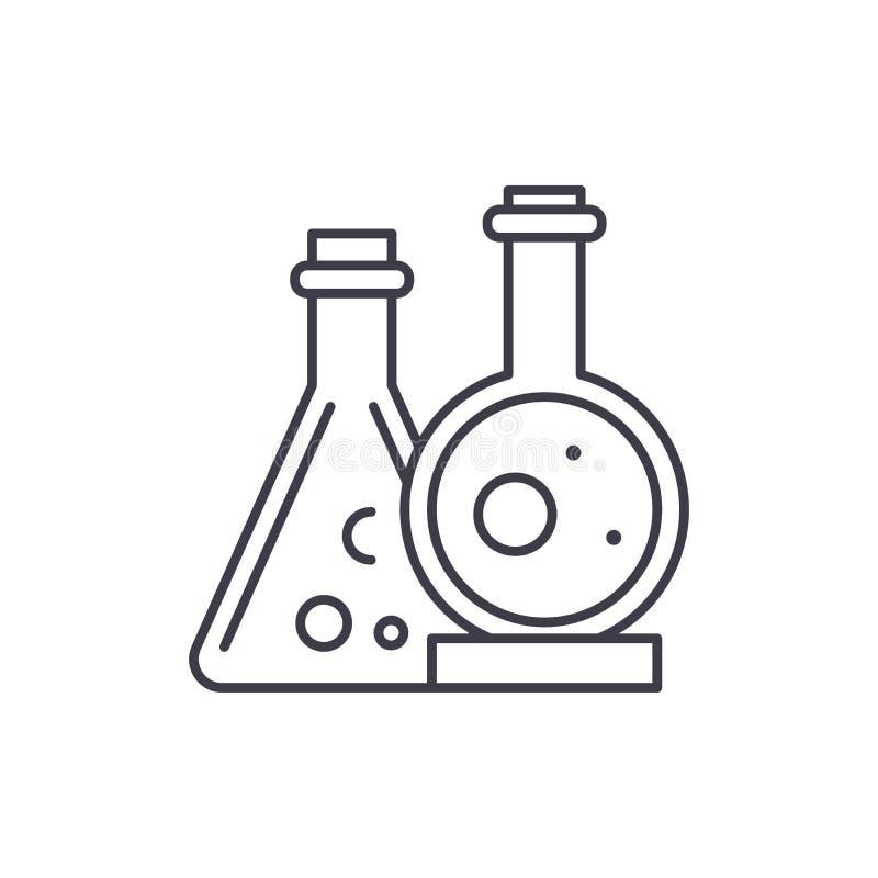 Χημική έννοια εικονιδίων εργαστηριακών γραμμών Χημική εργαστηριακή διανυσματική γραμμική απεικόνιση, σύμβολο, σημάδι διανυσματική απεικόνιση
