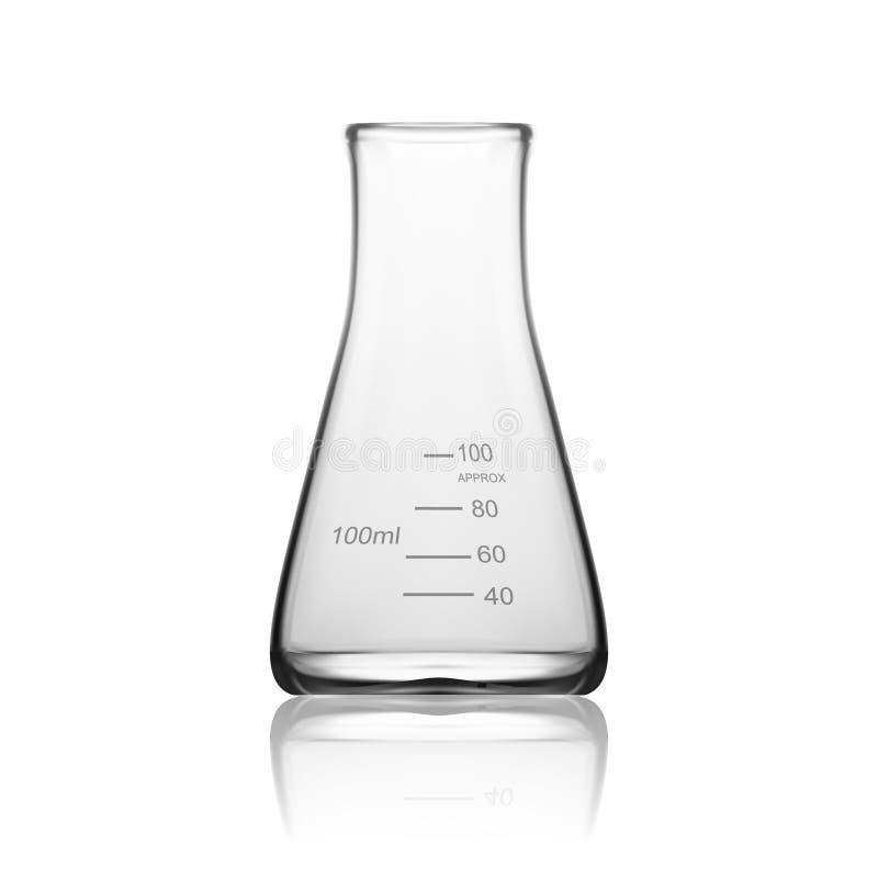 Χημική εργαστηριακά γυαλικά ή κούπα Κενός σαφής σωλήνας δοκιμής εξοπλισμού γυαλιού διανυσματική απεικόνιση