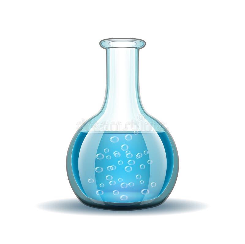 Χημική εργαστηριακή διαφανής φιάλη με το μπλε διανυσματική απεικόνιση