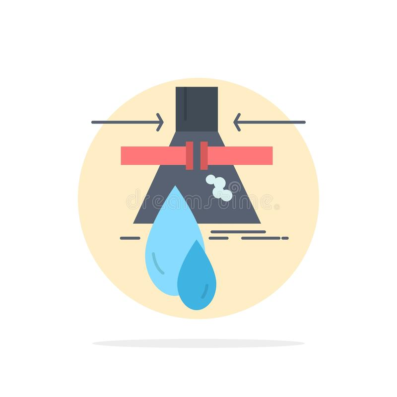 Χημική ουσία, διαρροή, ανίχνευση, εργοστάσιο, επίπεδο διάνυσμα εικονιδίων χρώματος ρύπανσης διανυσματική απεικόνιση