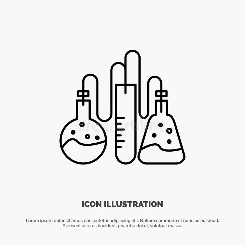 Χημική ουσία, ναρκωτικές ουσίες, εργαστήριο, διάνυσμα εικονιδίων γραμμών επιστήμης διανυσματική απεικόνιση