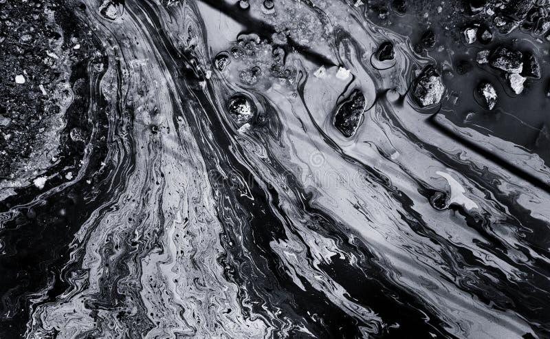 Χημική περίληψη διαρροών πετρελαίου σε γραπτό στοκ εικόνα