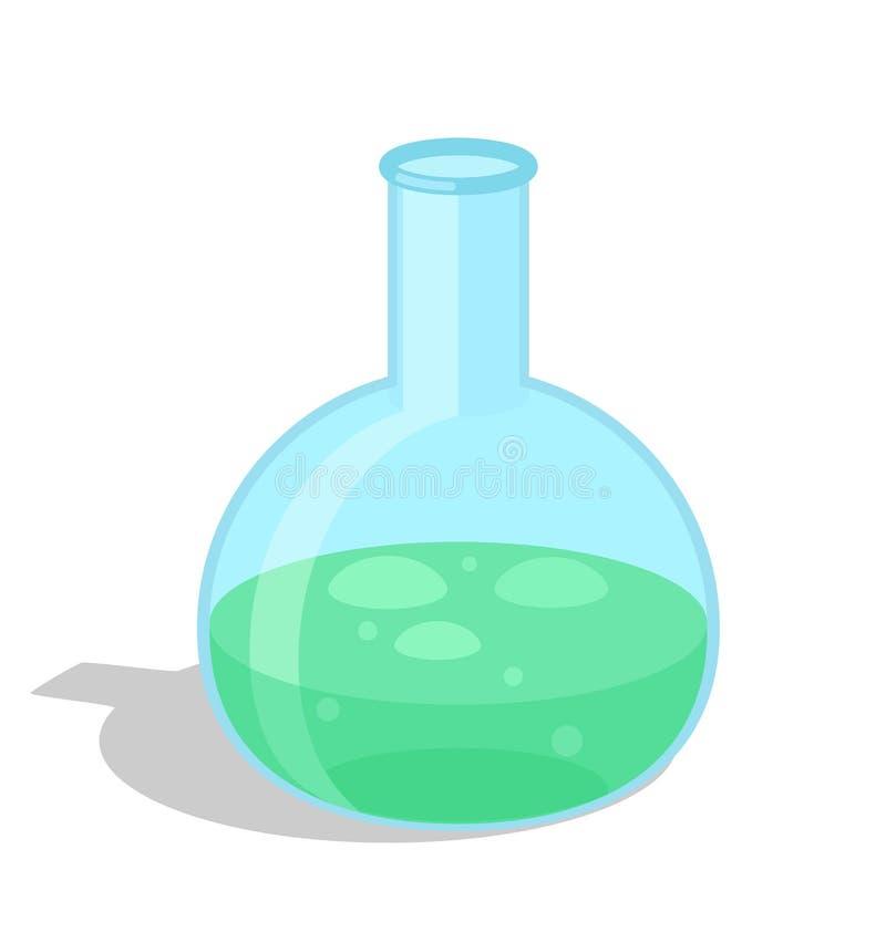 Χημική φιάλη με το πράσινο διανυσματικό εικονίδιο ουσιών απεικόνιση αποθεμάτων