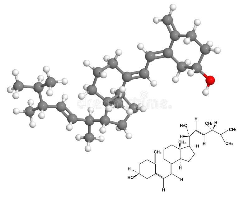 χημική d2 βιταμίνη μορίων τύπου απεικόνιση αποθεμάτων