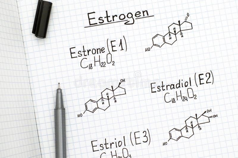 Χημικοί τύποι των οιστρογόνων με τη μαύρη μάνδρα στοκ φωτογραφία με δικαίωμα ελεύθερης χρήσης