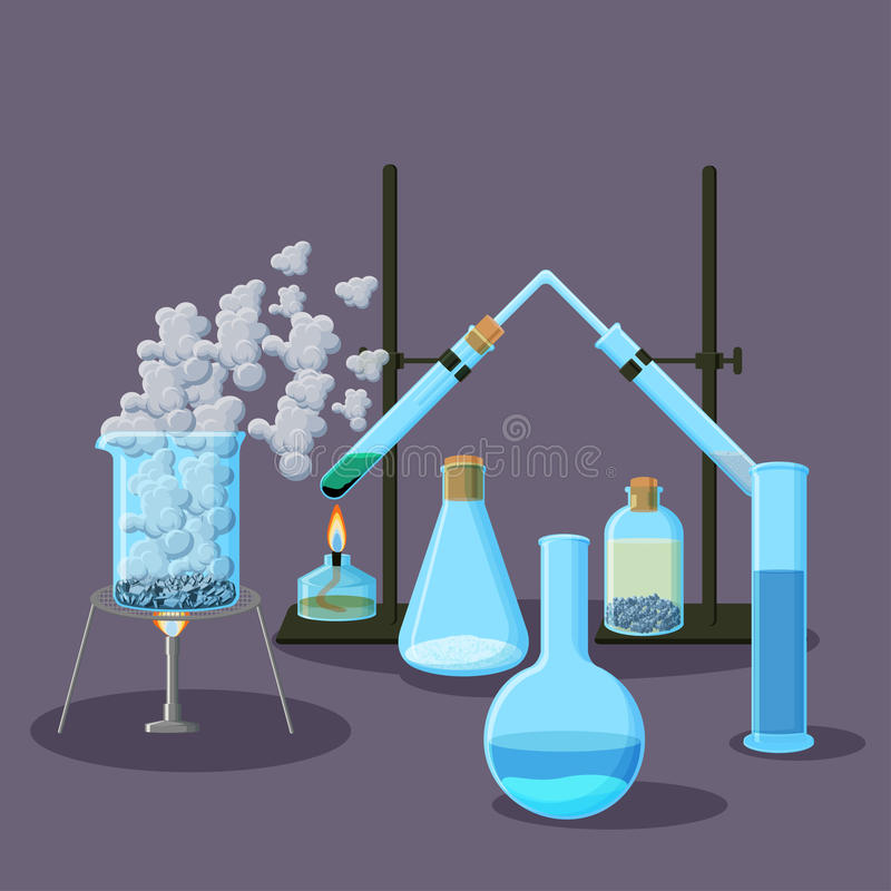Χημικός εξοπλισμός και αφηρημένο υπόβαθρο πειραμάτων στην πορφύρα απεικόνιση αποθεμάτων