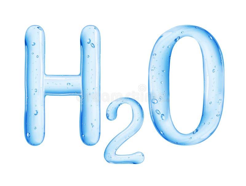 Χημικός τύπος του νερού που απομονώνεται στο άσπρο υπόβαθρο απεικόνιση αποθεμάτων