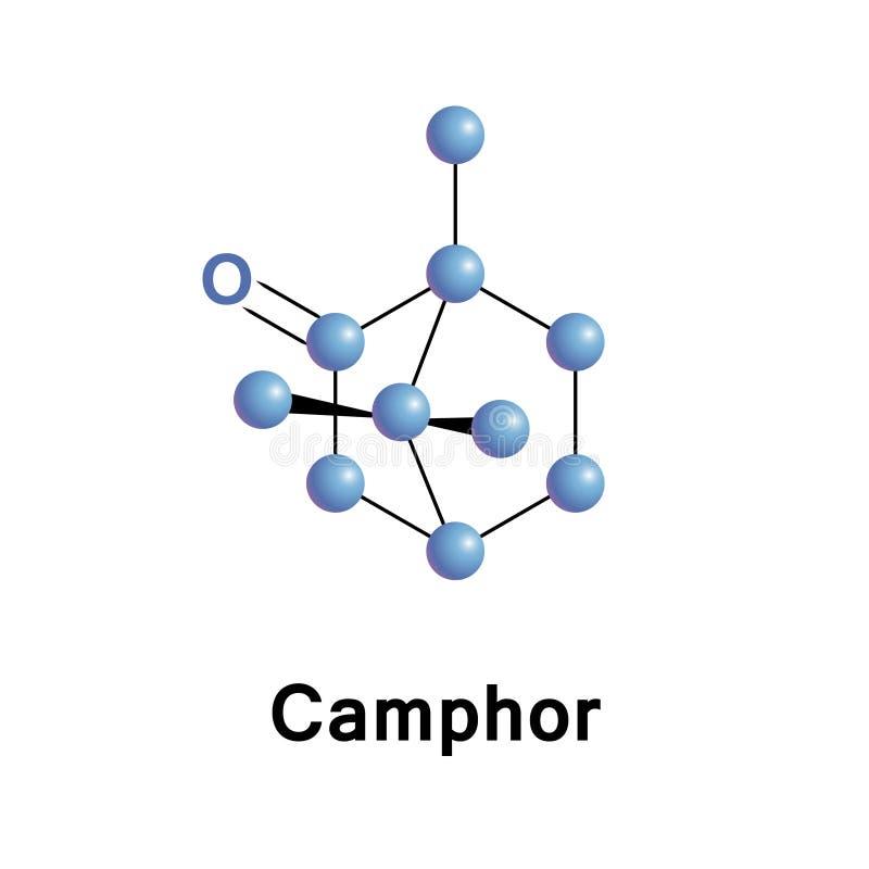 Χημικός τύπος C10H16O καμφοράς διανυσματική απεικόνιση