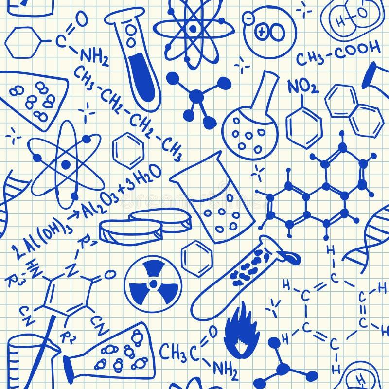 Χημικό άνευ ραφής σχέδιο doodles διανυσματική απεικόνιση