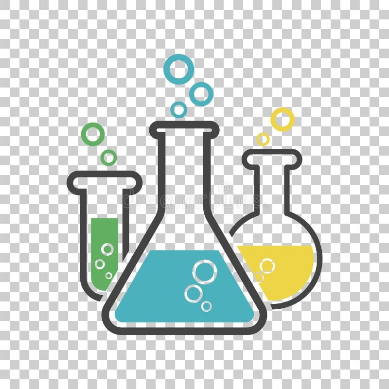 Χημικό εικονίδιο εικονογραμμάτων σωλήνων δοκιμής Εργαστηριακά γυαλικά ή beake ελεύθερη απεικόνιση δικαιώματος