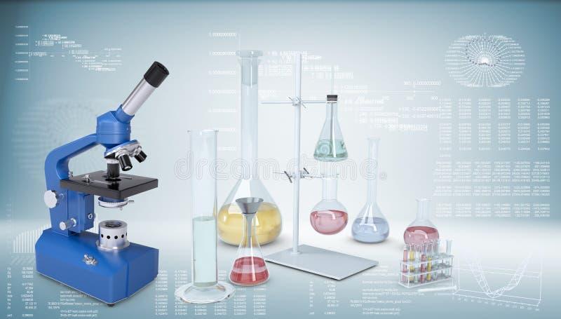 χημικό εργαστήριο εξοπλ&iota Μικροσκόπιο, φιάλες ελεύθερη απεικόνιση δικαιώματος
