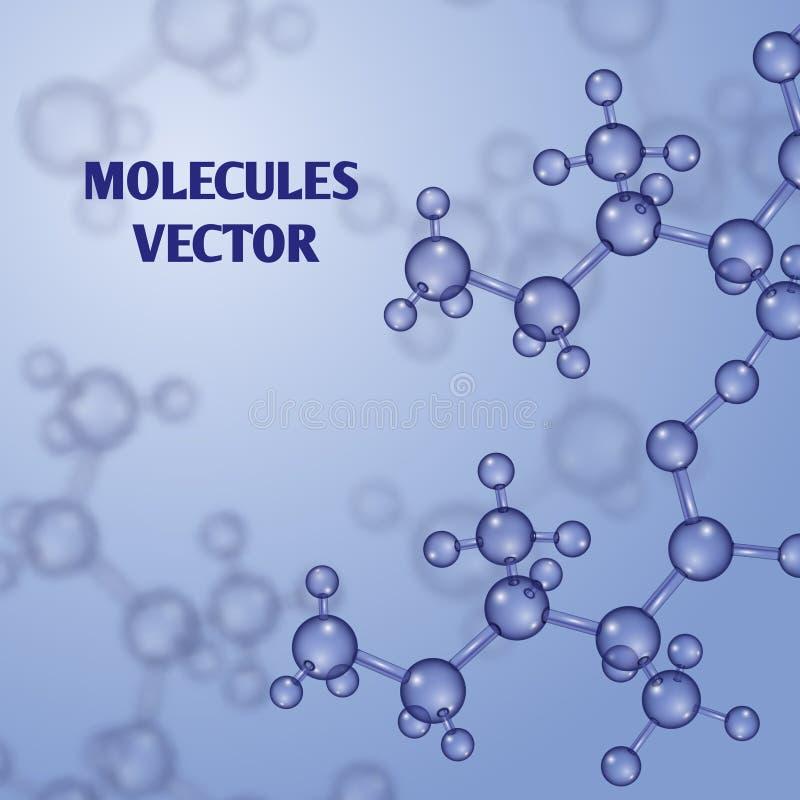 Χημικό διανυσματικό υπόβαθρο νανοτεχνολογίας με τα τρισδιάστατα μακρο μόρια απεικόνιση αποθεμάτων