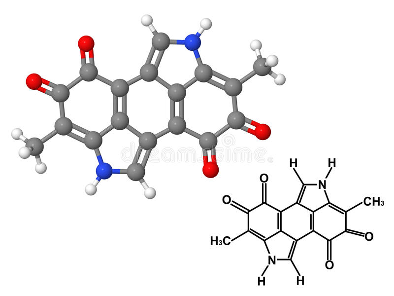 χημικό μόριο μελανίνης τύπου διανυσματική απεικόνιση