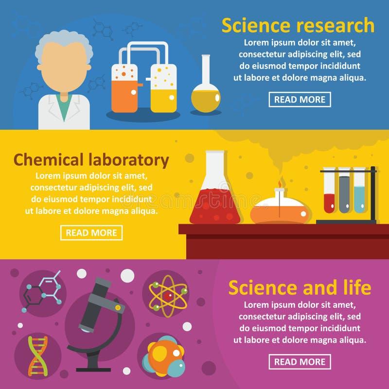 Χημικό οριζόντιο σύνολο εμβλημάτων επιστήμης, επίπεδο ύφος διανυσματική απεικόνιση
