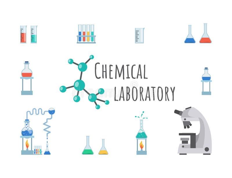 Χημικό πρότυπο εμβλημάτων εργαστηριακού εξοπλισμού Γυαλικά εργαστηρίων, κούπες, φιάλες και σωλήνες δοκιμής Σύγχρονη υψηλή ακρίβει διανυσματική απεικόνιση