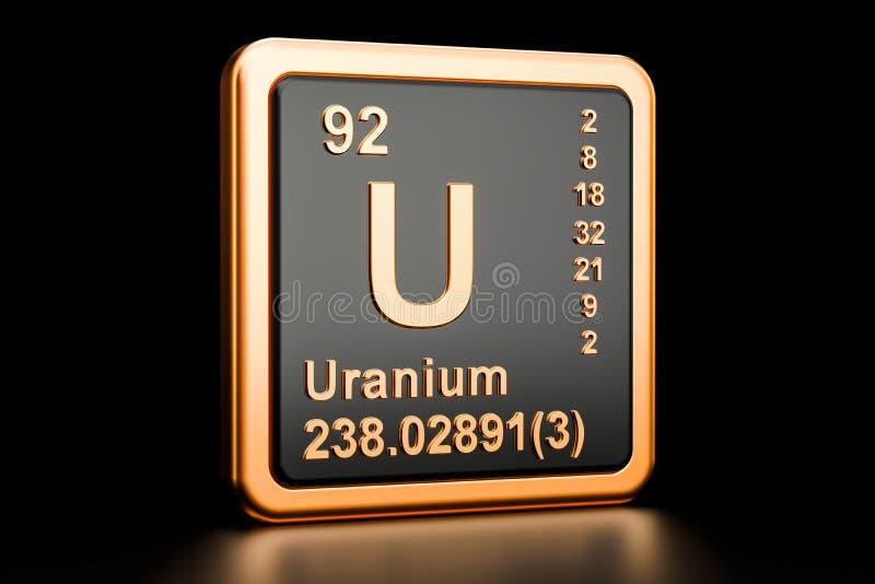 Χημικό στοιχείο του U ουράνιου τρισδιάστατη απόδοση απεικόνιση αποθεμάτων
