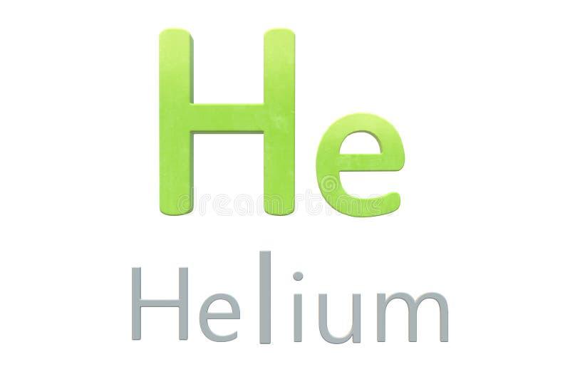 Χημικό σύμβολο ηλίου όπως στον περιοδικό πίνακα ελεύθερη απεικόνιση δικαιώματος