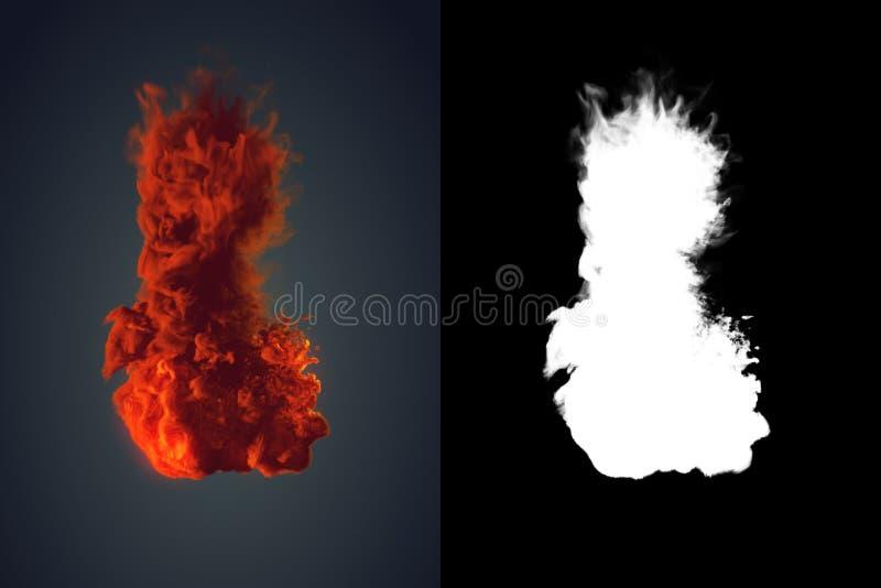 Χημικό σύννεφο του πορτοκαλιού καπνού που αναμιγνύει στη μαύρη τρισδιάστατη απόδοση υποβάθρου στοκ φωτογραφία