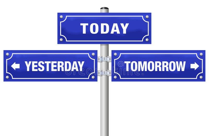 Χθες σήμερα αύριο σημάδι οδών απεικόνιση αποθεμάτων