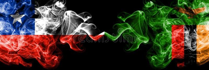 Χιλή εναντίον της Ζάμπια, της Ζάμπια καπνώείς απόκρυφες σημαίες που τοποθετούνται δίπλα-δίπλα Πυκνά χρωματισμένος μεταξωτός συνδυ στοκ εικόνες με δικαίωμα ελεύθερης χρήσης