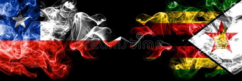 Χιλή εναντίον της Ζιμπάμπουε, της Ζιμπάμπουε καπνώείς απόκρυφες σημαίες που τοποθετούνται δίπλα-δίπλα Πυκνά χρωματισμένος μεταξωτ στοκ φωτογραφίες