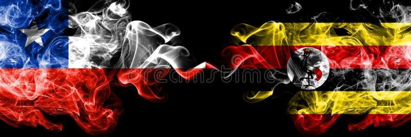 Χιλή εναντίον της Ουγκάντας, από την Ουγκάντα καπνώείς απόκρυφες σημαίες που τοποθετούνται δίπλα-δίπλα Πυκνά χρωματισμένος μεταξω στοκ φωτογραφία