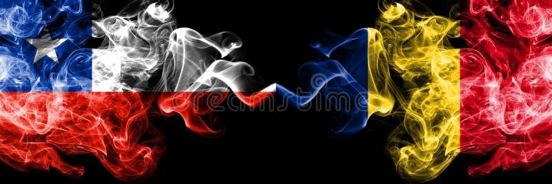 Χιλή εναντίον της Ρουμανίας, ρουμανικές καπνώείς απόκρυφες σημαίες που τοποθετούνται δίπλα-δίπλα Πυκνά χρωματισμένος μεταξωτός συ στοκ εικόνα με δικαίωμα ελεύθερης χρήσης