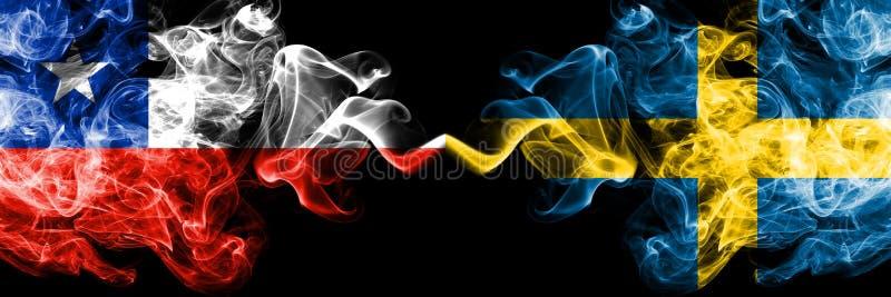 Χιλή εναντίον της Σουηδίας, σουηδικές καπνώείς απόκρυφες σημαίες που τοποθετούνται δίπλα-δίπλα Πυκνά χρωματισμένος μεταξωτός συνδ στοκ φωτογραφίες