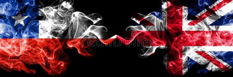 Χιλή εναντίον του Ηνωμένου Βασιλείου, βρετανικές καπνώείς απόκρυφες σημαίες που τοποθετούνται δίπλα-δίπλα Πυκνά χρωματισμένος μετ στοκ εικόνες