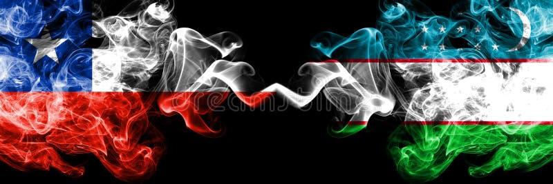 Χιλή εναντίον του Ουζμπεκιστάν, του Ουζμπεκιστάν καπνώείς απόκρυφες σημαίες που τοποθετούνται δίπλα-δίπλα Πυκνά χρωματισμένος μετ στοκ φωτογραφίες με δικαίωμα ελεύθερης χρήσης
