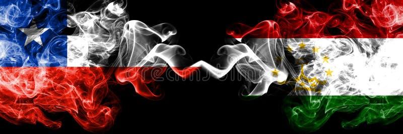 Χιλή εναντίον του Τατζικιστάν, καπνώείς απόκρυφες σημαίες Tajikistani που τοποθετούνται δίπλα-δίπλα Πυκνά χρωματισμένος μεταξωτός στοκ φωτογραφία με δικαίωμα ελεύθερης χρήσης
