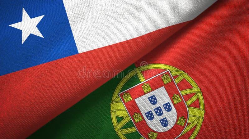 Χιλή και Πορτογαλία δύο υφαντικό ύφασμα σημαιών, σύσταση υφάσματος απεικόνιση αποθεμάτων