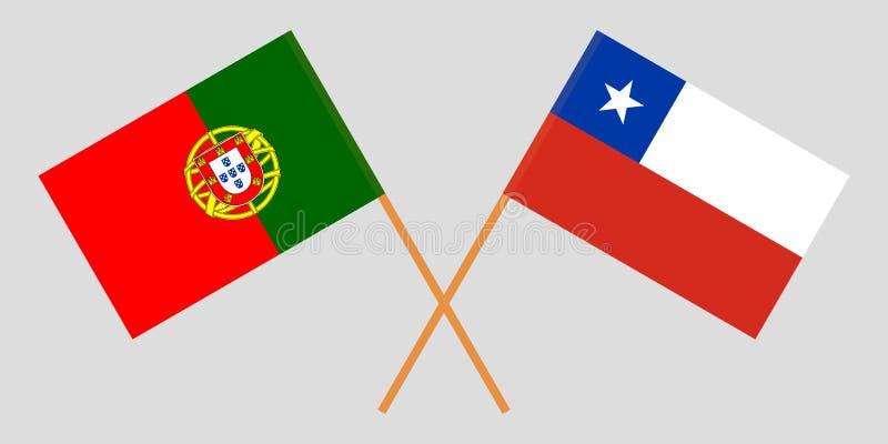 Χιλή και Πορτογαλία Της Χιλής και πορτογαλικές σημαίες διανυσματική απεικόνιση
