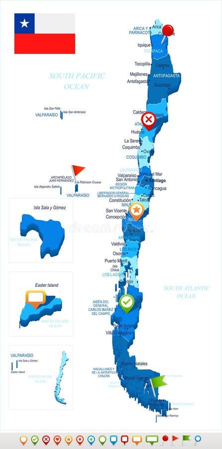 Χιλή - χάρτης και σημαία - λεπτομερής διανυσματική απεικόνιση απεικόνιση αποθεμάτων