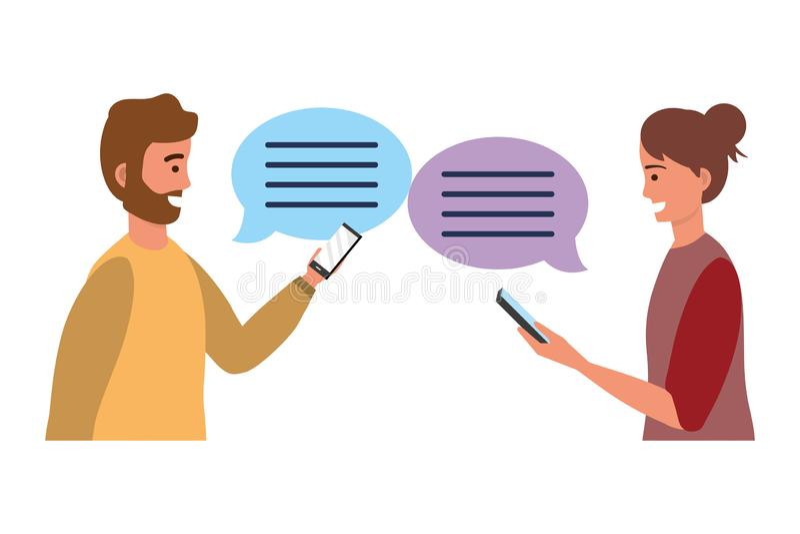 Χιλιετής συνομιλία συνομιλίας smartphone διανυσματική απεικόνιση