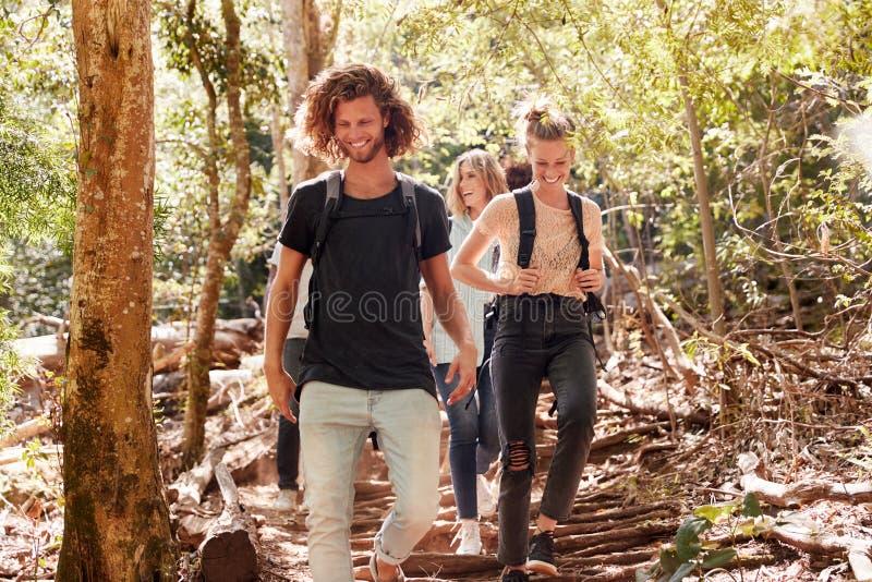 Χιλιετείς φίλοι που μαζί προς τα κάτω σε ένα δασικό ίχνος, πλήρες μήκος στοκ φωτογραφία