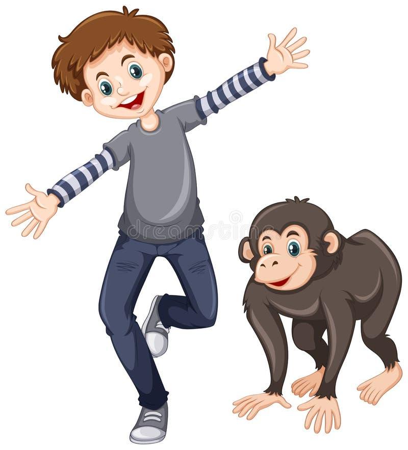 Χιμπατζής και ευτυχές αγόρι απεικόνιση αποθεμάτων