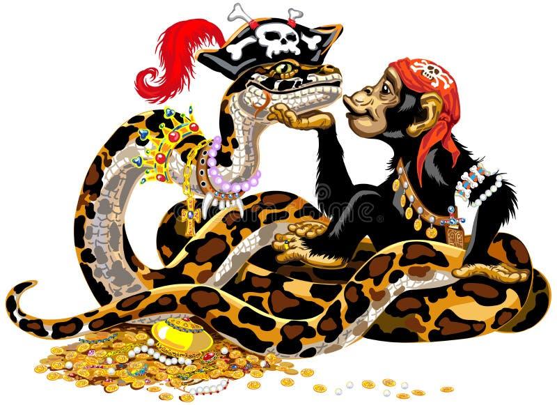 Χιμπατζής και python πειρατές κινούμενων σχεδίων διανυσματική απεικόνιση
