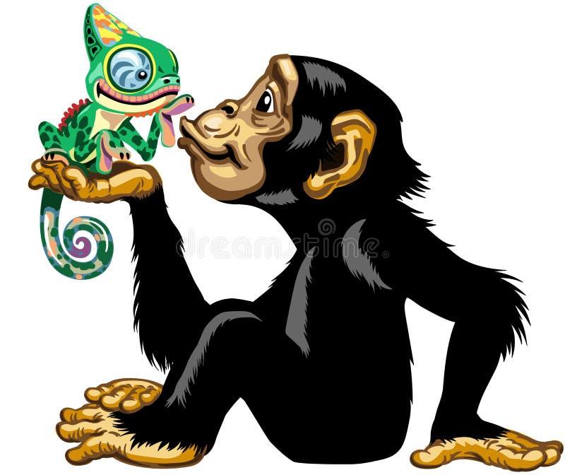 Χιμπατζής κινούμενων σχεδίων που κρατά έναν χαμαιλέοντα ελεύθερη απεικόνιση δικαιώματος