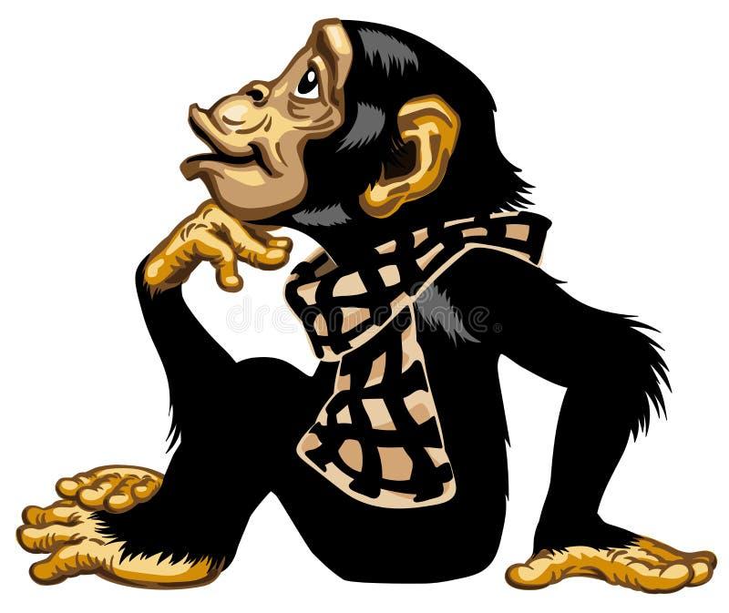 Χιμπατζής κινούμενων σχεδίων που φορά ένα μαντίλι ελεύθερη απεικόνιση δικαιώματος