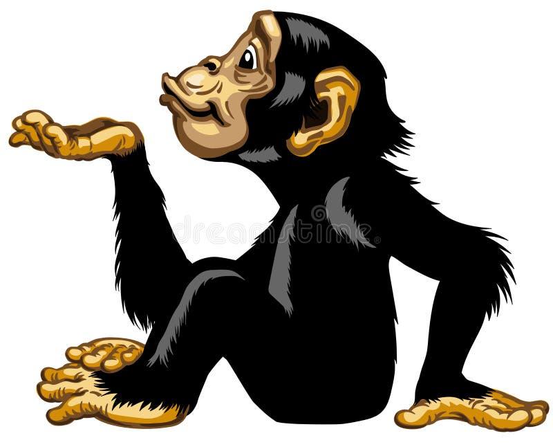 Χιμπατζής κινούμενων σχεδίων που φυσά ένα φιλί απεικόνιση αποθεμάτων