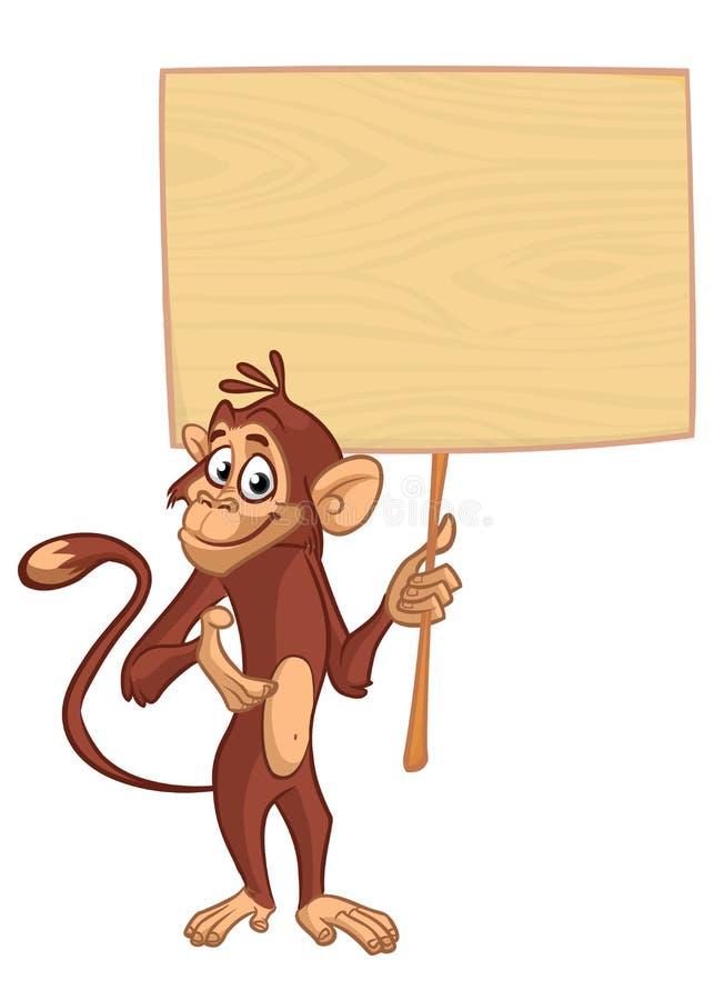 Χιμπατζής πιθήκων κινούμενων σχεδίων που κρατά τον ξύλινο πίνακα διανυσματική απεικόνιση
