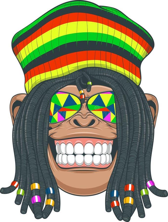 Χιμπατζής Rastafarian ελεύθερη απεικόνιση δικαιώματος