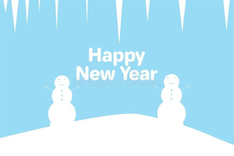 Χιονάνθρωποι και παγάκια διανυσματική απεικόνιση
